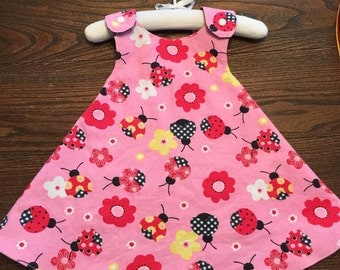 Pink with Gingham Ladybugs and Navy Blue with Gingham Butterflies Denim Handmade Reversible Sundress for Infants and Toddlers