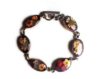 "Vintage Sterling Silver Resin Dry Flower ~ Link Boho Bracelet 7"" Retro Southwestern Jewelry"