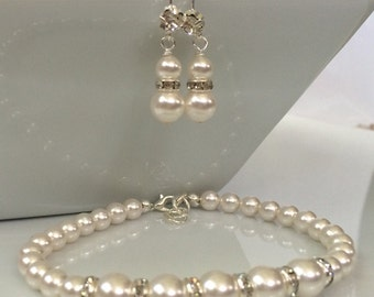 White Pearl and Crystal Bridal Jewelry Set | Pearl Bridesmaid Set | White Pearl Jewelry Set | Bridal Jewelry | Pearl Jewelry