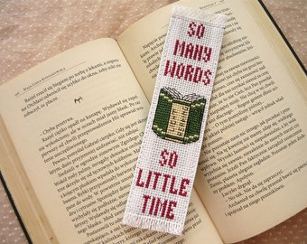 Cross stitch bookmark - So many words, embroidered bookmark, gift for readers, book lover