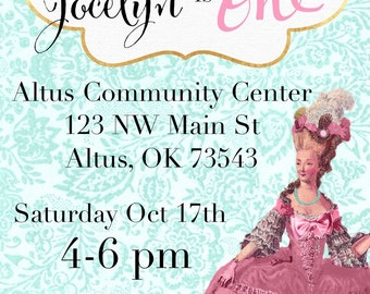 Marie Antoinette pastel invitation