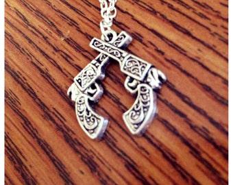Double Pistol Necklace