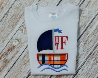 Boy's shirt; Boy's shirt with boat; Personalized shirt; Boy's summer shirt; Sailboat Shirt;  Boy's gown with sailboat; SHIPS 3-5 days