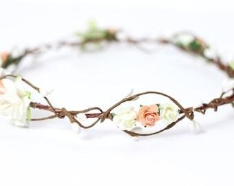 Peach Flower Hair Wreath - Flower Crown - Floral Headpiece - Bridal Floral Crown - Floral Hair Wreath Girls - Rustic Wedding Flower Crown
