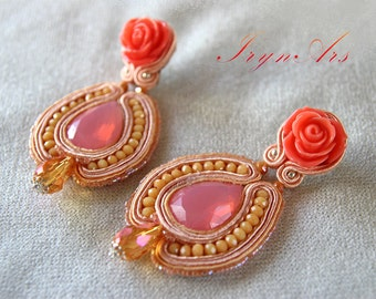 "Sale-15%. Big earrings in soutache ""Rose and Peach""/refined and romantic rose Earrings pendants/Pinks and peaches."