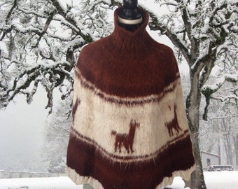 Vintage Alpaca Poncho, Wool Knit, Brown and White, Knit Cape, Llama, Cape, Sweater, Turtle Neck, Winter, Fringed Bottom, Hand Knit, Hippie
