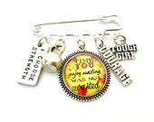 Motivational Inspirational Keep Fit Charm Pendant Brooch Tough Girl I Choose Strength Courage Kettebell  Barbell Gym Bunny Kilt Pin Brooch