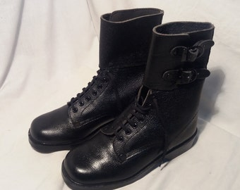 Vintage 1980's Bulgarian Army Black Leather Boots - NEW