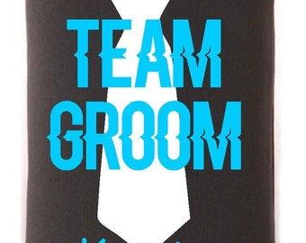 Team Groom Personalized Bachelor Can Drink Holder