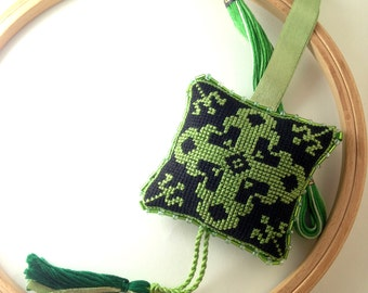 Pin cushion with tassel. Scissors fob. Hand made, hand embroidered pincushion. Green. Black. C3