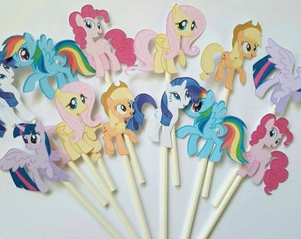 My Little Pony cupcake toppers -set of 12, cake toppers, My Little Pony party