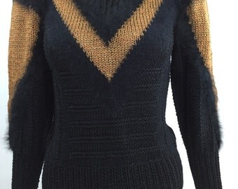 80's Multi Texture Sweater size small