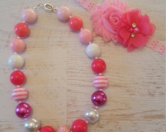 READY TO SHIP Shades of pink headband and chunky necklace set,