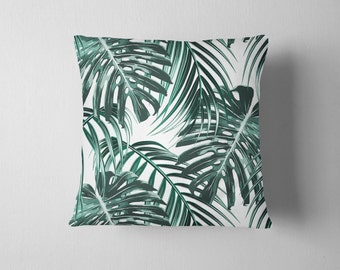 Tropical leaf forest green throw pillow
