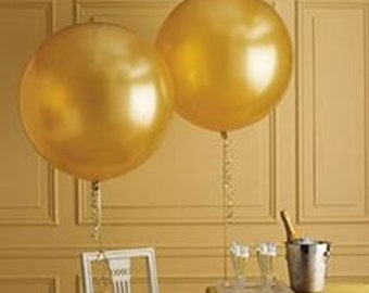 "Large Round Pearlized Gold Latex Balloons/ 4 CT Large Gold Balloons/ XL 24"" Inch Round Gold Balloons/ Gold Party Balloons"