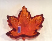 Maquis by Waterford Maple Leave Harvest Orange Lead Crystal Trinket Dish