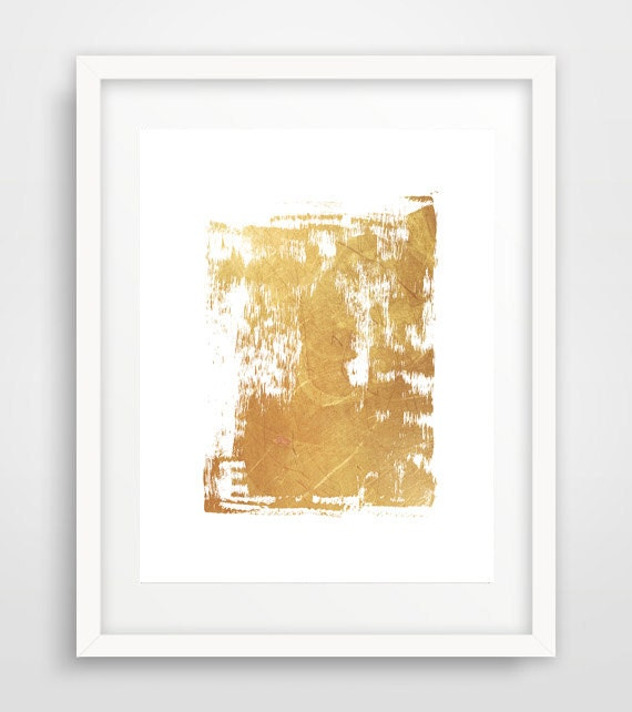 Wall Art Decor Gold : Modern wall art gold abstract print contemporary