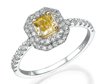 Emerald Cut Engagement Ring, 18K White Gold Ring, 0.71 TCW Double Halo Ring, Fancy Yellow Diamond Engagement Ring Size 5.75