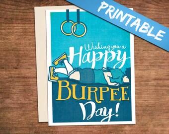 Crossfit Birthday Printable Happy Burpee Day Card - Customized Customizabble Fitness Gym Greeting Card