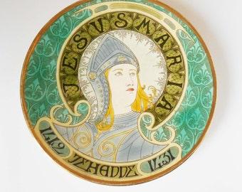 Antique plate representative portrait of Joan of Arc - section RESERVE