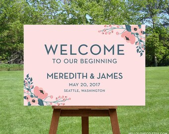 PRINTABLE Large Wedding Welcome Sign, Custom Wedding Entrance Sign, Welcome to Our Beginning, Blush Pink Floral Wedding Decor, Digital File