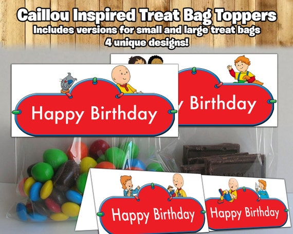 Caillou Inspired Treat Bag Toppers Caillou Treat Bag Toppers Caillou Birthday Party Candy Bag Topper Caillou Party Favor topper