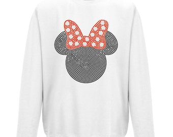 Ladies Minnie Mouse with red bow sweatshirt with black and red crystals. Amazing!