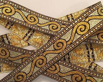 "Metallic Gold Scroll Woven Jacquard Ribbon 3/4"" wide"
