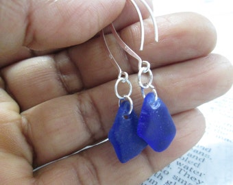 4th July BLUE sea glass Earrings on Sterling Silver  FREE SHIPPING
