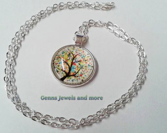 Tree  Necklace, Tree of Knowledge  Necklace, Glass Necklace, Silver Pendant