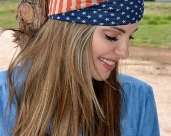American Flag Headband, Turband, Patriotic Headband, July 4th Turband