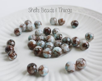 10mm Mottled Beads, Blue Beads, Brown Beads, White Beads, Glass Beads, Jewelry Making Supply - 1 Strand = 35 Beads