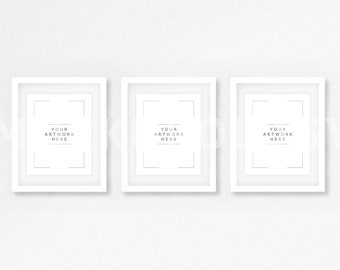 8x10 16x20 24x30 set of three vertical digital white frame mockup styled photography poster mockup white wall tryptich instant download