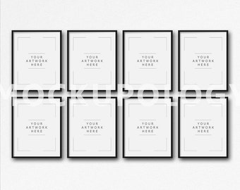 8x10 16x20 24x30 set of eight vertical digital black frame mockup on white plain wall background styled photography mockupinstant download