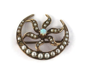 Antique Victorian seed pearl and Opal brooch - Ostby Barton - 10k - moon and star