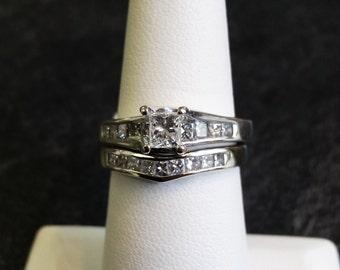 14k White Gold Princess Cut Engagement Ring 0.33ct Set size 7