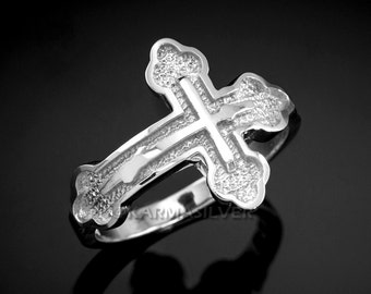 Silver Russian Cross Ring .925 Sterling Silver Eastern Orthodox Cross Ring