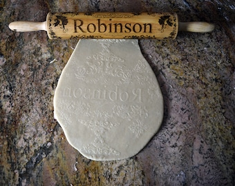 Laser Engraved Wood Rolling Pin Personalized with Family Name and Decorated With Beautiful Floral Patterns