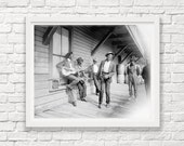 Waiting for the Sunday Boat - Musicians - Music Art - Vintage Music - Vintage Guitar - Singing - Singer - Street Musician - Music Photograph