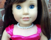 """Faux pearl memory wire choker necklace- your choice from 10 colors- for American Girl and 18"""" dolls which doubles as a little girl bracelet"""
