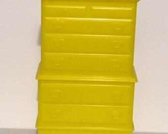 Marx Yellow Highboy Bedroom Dresser-vintage Dollhouse Furniture 1:16 plastic