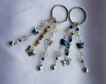 Bag charms - Silver toned Hearts with Glass Butterflies and silver butterfly charm in Blue/Clear/silver or gold/clear/silver glass beads