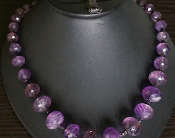 ON SALE Charming Amethyst Silver Necklace