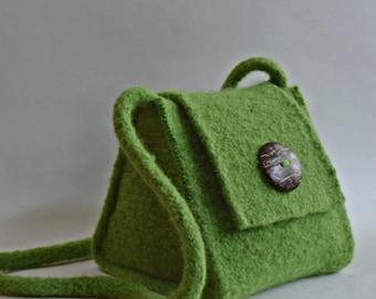 Green Felted Wool Purse Handbag