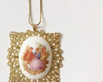 Square Gold Vintage Cameo Necklace