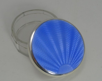 Art Deco Stelring Silver and Guilloche Enamel Box - 1933