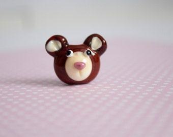 Bear Bead - Teddy Bear Bead - Lampwork Glass - Glass Bear- UK Artisan Handmade - Lampwork Teddy - Glass Teddy - Bear Beads - Animal Beads