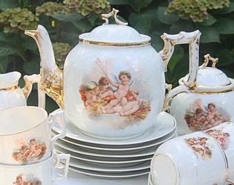 Rare Antique Brussels Porcelain Tea Service, Tea Set, Cherub Decor,  Handpainted