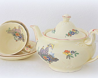 Vintage Royal Venton Ware Tea Set, Teapot and Two Cup and Saucers, Flower Decor and Garden Scene