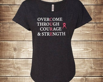 Glitter CURE Breast Cancer Awareness Dolman T-Shirt - Silver & Pink Glitter - Overcome Through Courage and Strength